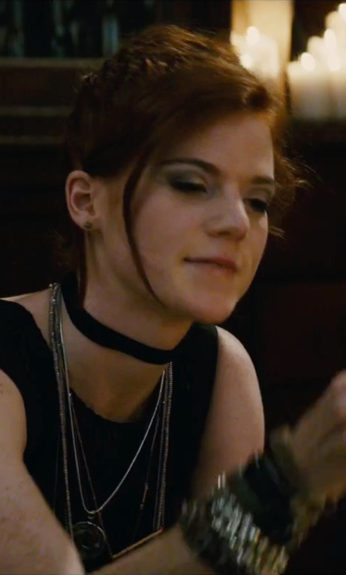 Rose Leslie with Acne Studios Split-Back Studded Blouse in The Last Witch Hunter