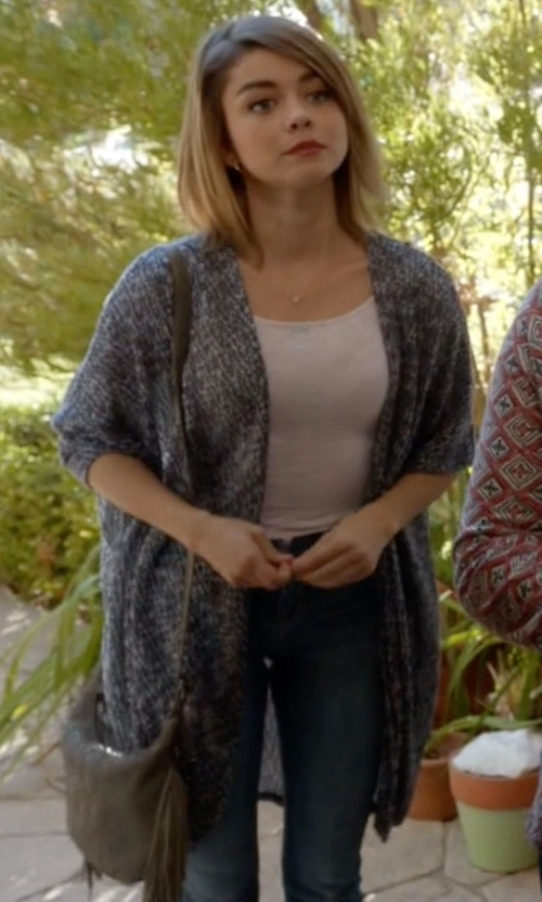 Sarah Hyland with Ash Bo Fringe Leather Crossbody Bag in Modern Family