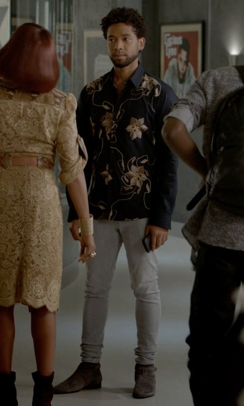 Jussie Smollett with Saint Laurent Suede London Boots in Empire