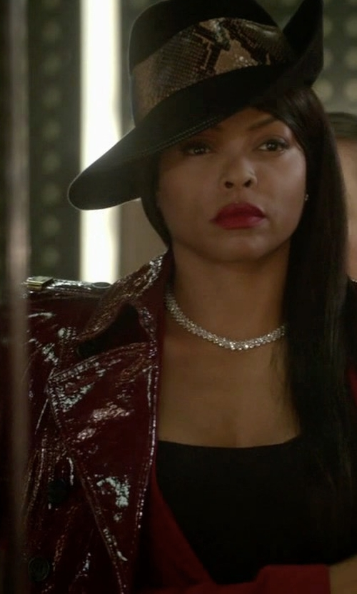 Taraji P. Henson with Burberry Prorsum Double Breasted Patent Leather Trench Coat in Empire