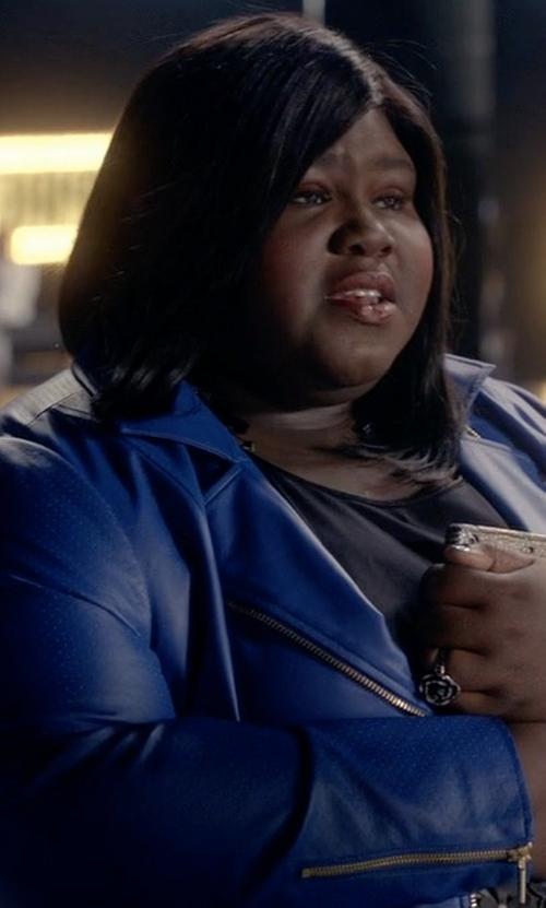Gabourey Sidibe with Christian Siriano Perforated Leather Jacket in Empire
