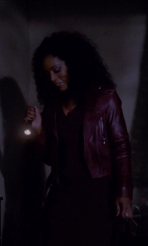 Angela Bassett with Calvin Klein Jeans Faux Leather Moto Jacket in American Horror Story