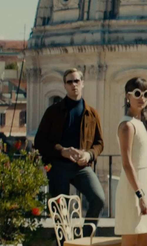 Armie Hammer with Burberry Brit Cotton Chino Pants in The Man from U.N.C.L.E.