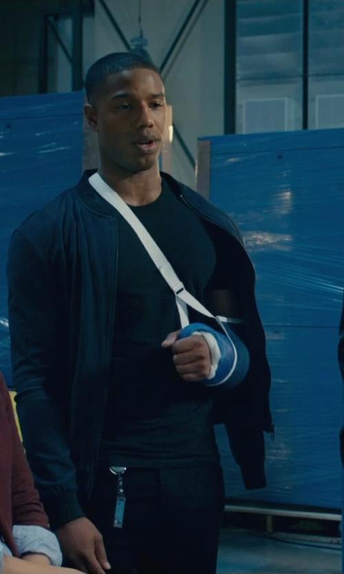 Michael B. Jordan with Topman Tailored Jersey Bomber Jacket in Fantastic Four