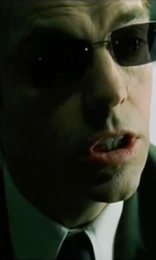 Hugo Weaving with Kym Barrett (Costume Designer) Custom Made Agent Smith Sunglass in The Matrix