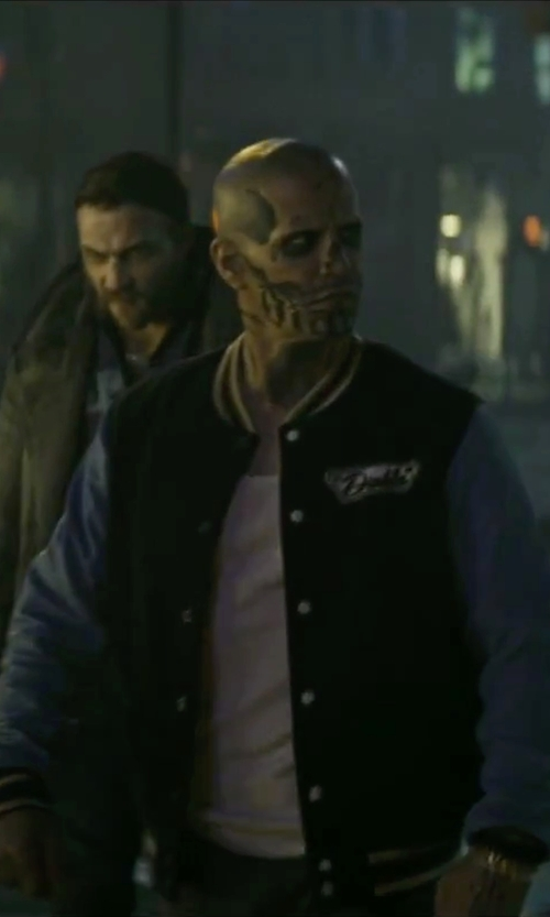 Jay Hernandez with Eleventy Knit-Sleeve Baseball Jacket in Suicide Squad