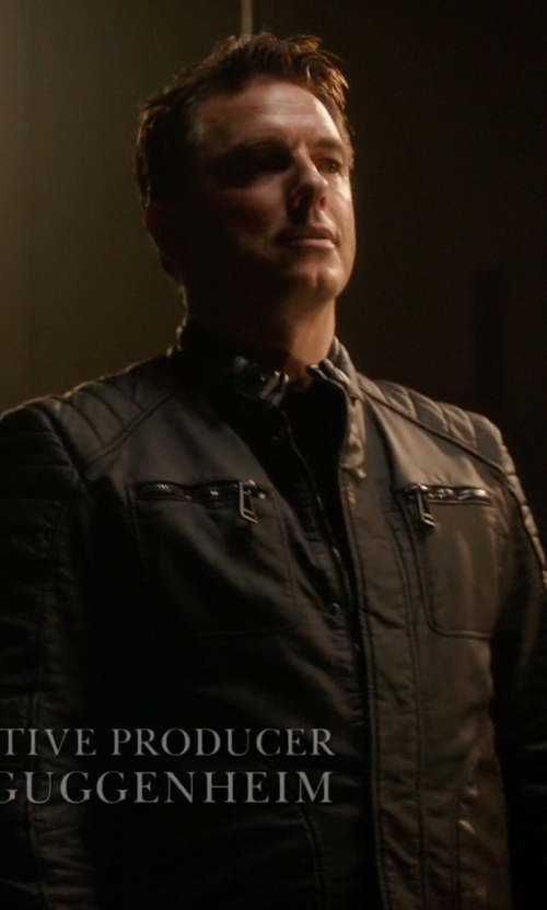 John Barrowman with Belstaff Rubberised Jersey Weybridge Jacket in Arrow