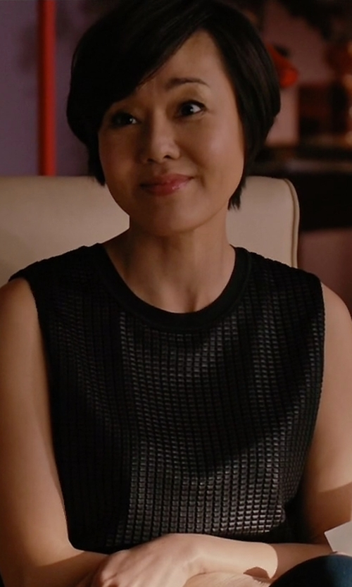 Yunjin Kim with Vince Lattice-Lace Overlay Sleeveless Top in Mistresses
