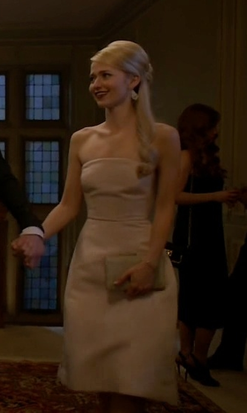 Johanna Braddy with Halston Heritage Strapless Satin Dress in Quantico