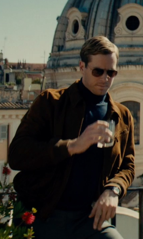 Armie Hammer with Ralph Lauren Brown Polo Wilstead Suede Newsboy Jacket in The Man from U.N.C.L.E.