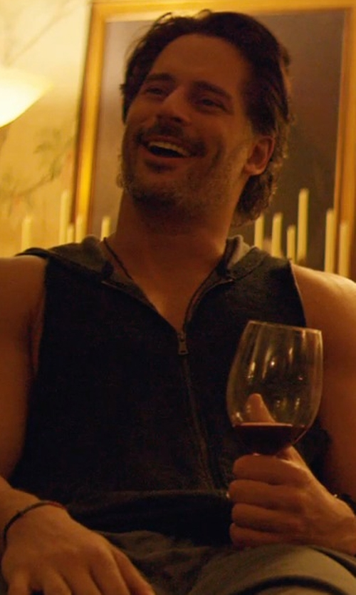 Joe Manganiello with American Rag Men's Solid Hoodie Vest in Magic Mike XXL