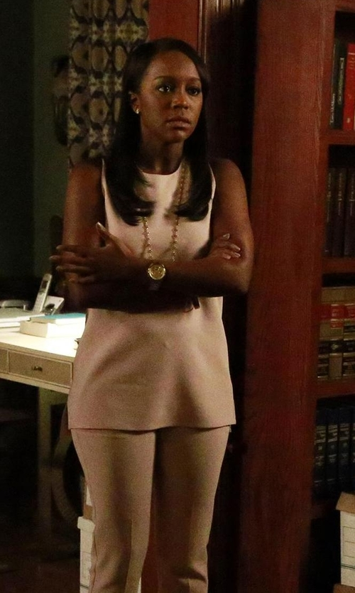 Aja Naomi King with H&M Mama Sleeveless Blouse in How To Get Away With Murder