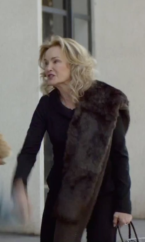 Jessica Lange with Gorski Knit Mink Fringe Shawl in The Gambler