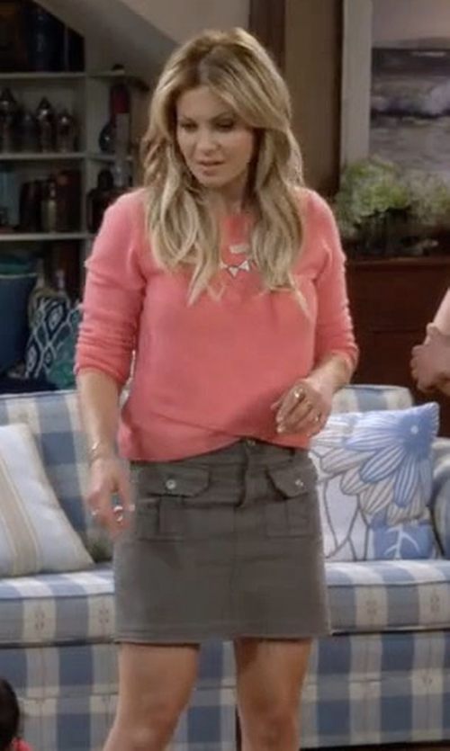 Candace Cameron Bure with 7 For All Mankind Utility Pocket Mini Skirt in Fuller House