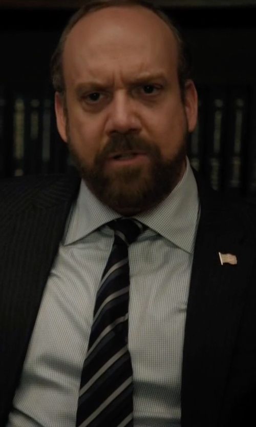 Paul Giamatti with Burberry London Clinton Stripe Silk Tie in Billions