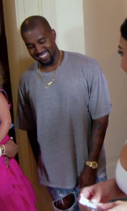 Kanye West with T By Alexander Wang Classic Short-Sleeve Crewneck T-Shirt in Keeping Up With The Kardashians