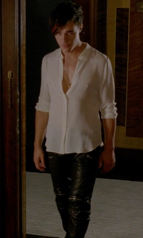 Finn Wittrock with April 77 Joey Faux Leather Pants in American Horror Story