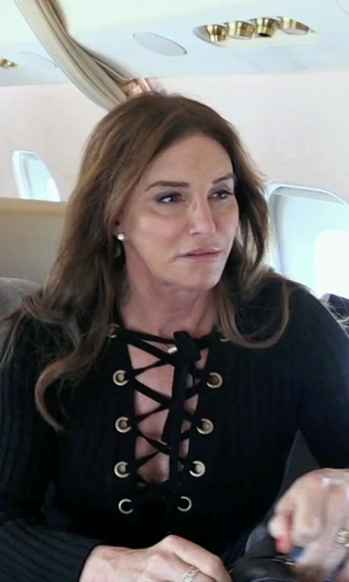 Caitlyn Jenner with Roberto Cavalli Lace-Up Ribbed Top in Keeping Up With The Kardashians