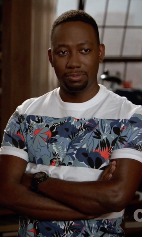 Lamorne Morris with Original Penguin Floral Block Stripe Tee in New Girl