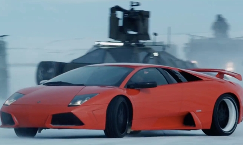 Tyrese Gibson with Lamborghini Murcielago LP 640 Super Car in The Fate of the Furious