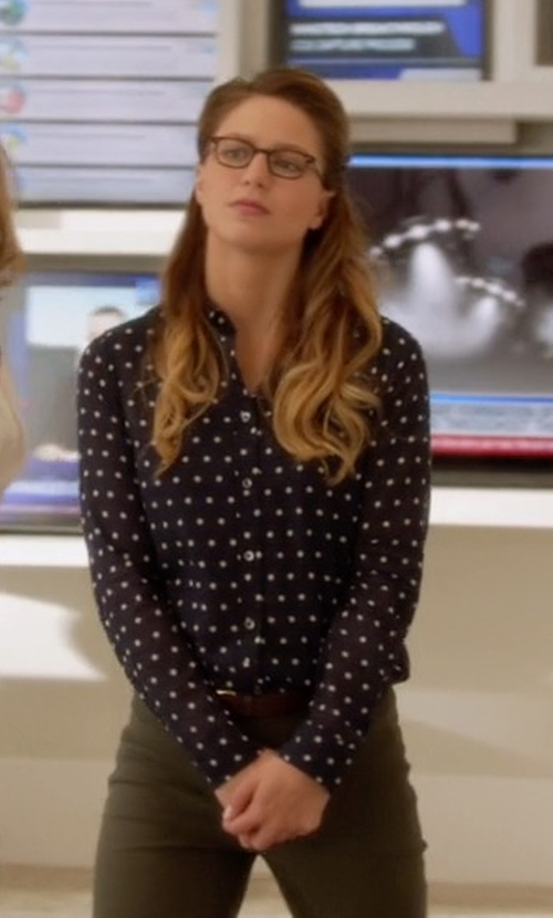 Melissa Benoist with J. Crew Perfect Shirt in Supergirl