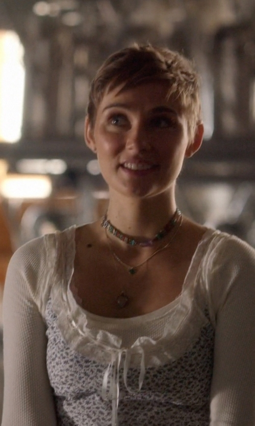 Clare Bowen with Superdry Lace Printed Vest Top in Nashville