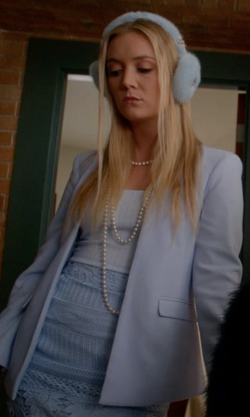 Billie Lourd with Asos Structured Edge to Edge Blazer in Scream Queens