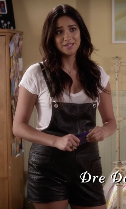 Shay Mitchell with American Retro Gabin Leather Short Overalls in Pretty Little Liars
