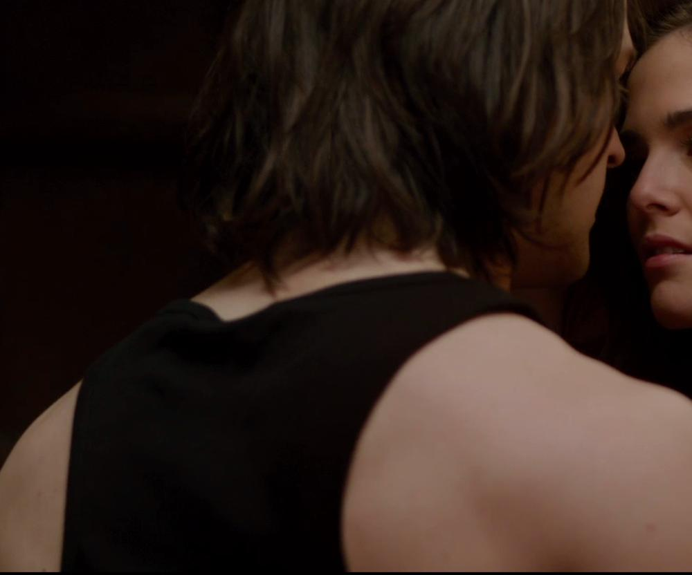 Danila Kozlovsky with T BY ALEXANDER WANG BLACK JERSEY POCKET TANK TOP in Vampire Academy