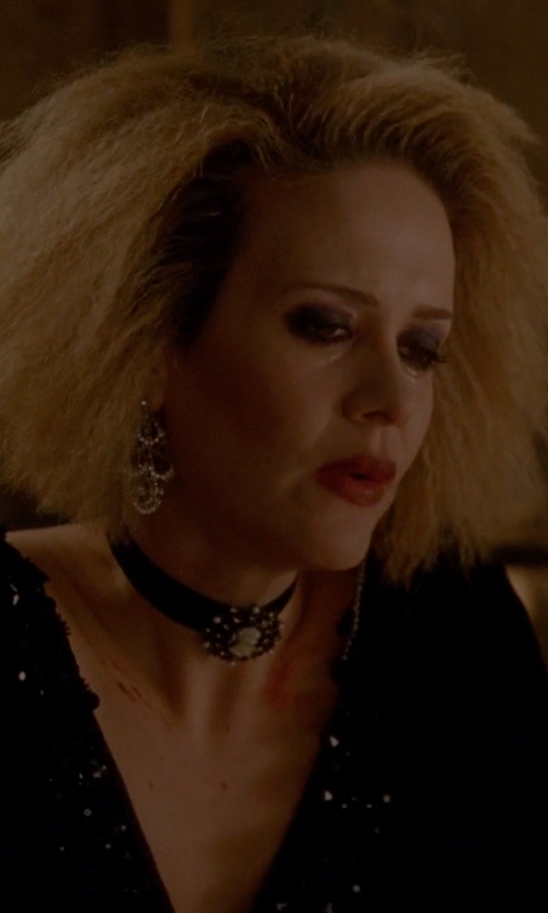 Sarah Paulson with Alice + Olivia 'Prim' Embellished V-Neck A-Line Dress in American Horror Story