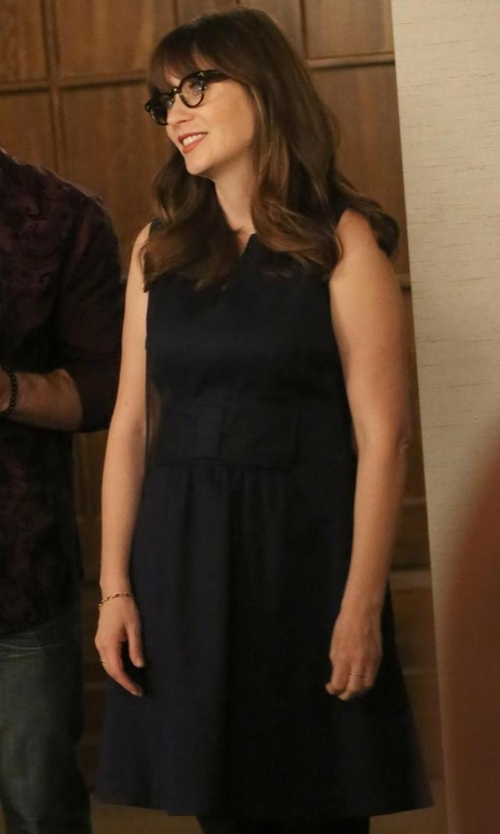 Zooey Deschanel with Carolina Herrera Sleeveless Wool Pocket Dress in New Girl