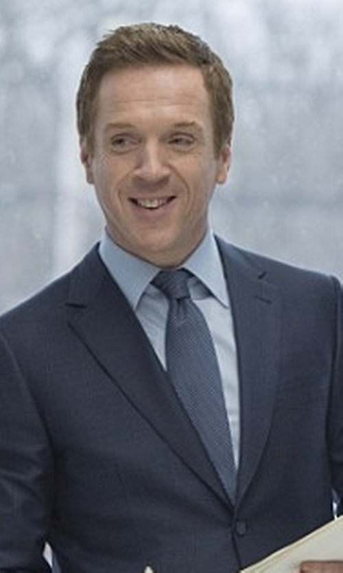Damian Lewis with Barneys New York Woven Striped Necktie in Billions