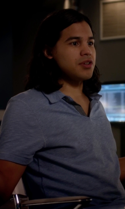 Carlos Valdes with Boss Hugo Boss Rapino Slub Short-Sleeve Polo Shirt in The Flash