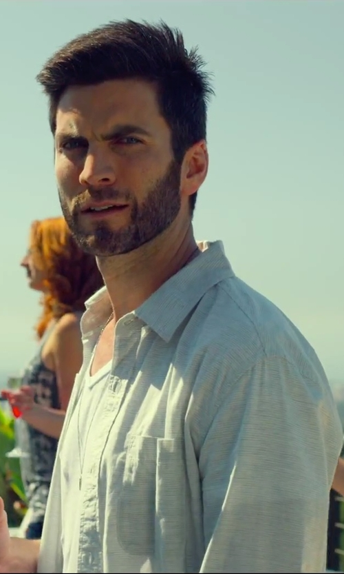 Wes Bentley with Vilebrequin Striped Sportshirt in We Are Your Friends
