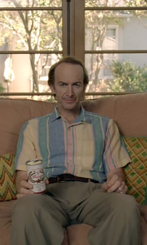 Denis O'Hare with Tasso Elba Island Striped Linen-Blend Shirt in American Horror Story