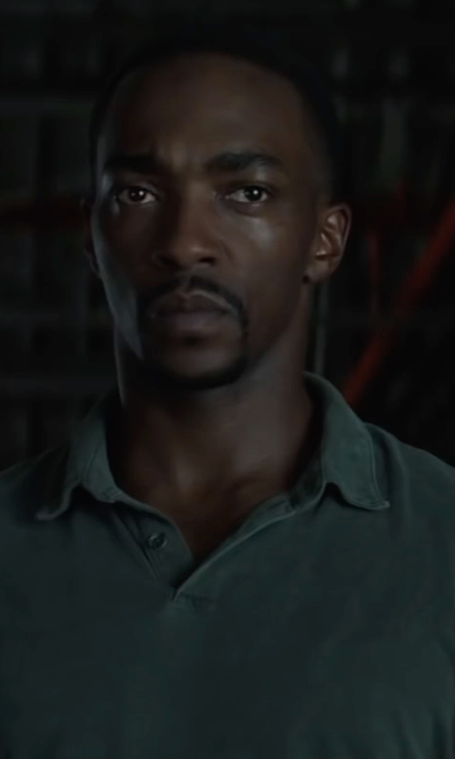 Anthony Mackie with James Perse Trim Fit Sueded Jersey Polo in Captain America: Civil War
