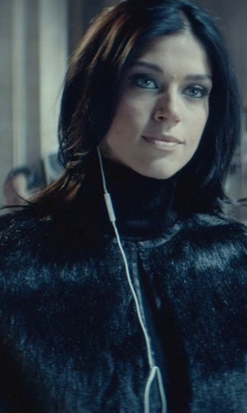 Adrianne Palicki with Vince Camuto Plush Faux Fur Cape in John Wick