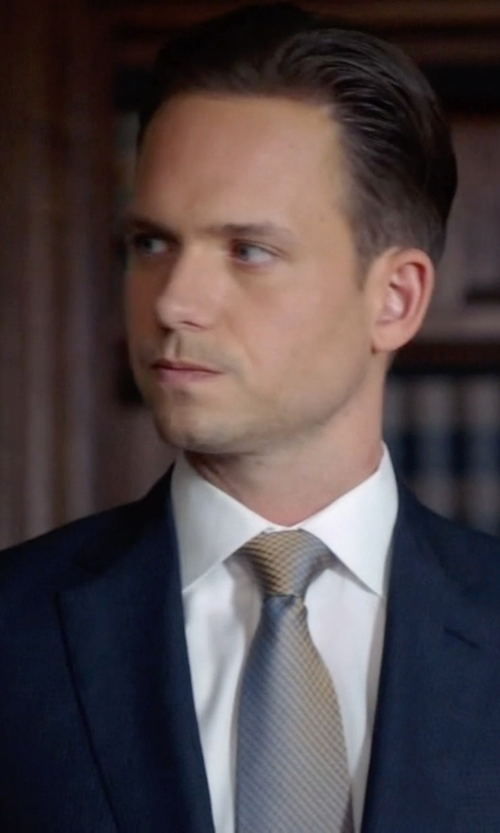 Patrick J. Adams with Ermenegildo Zegna White Point Collar Shirt in Suits