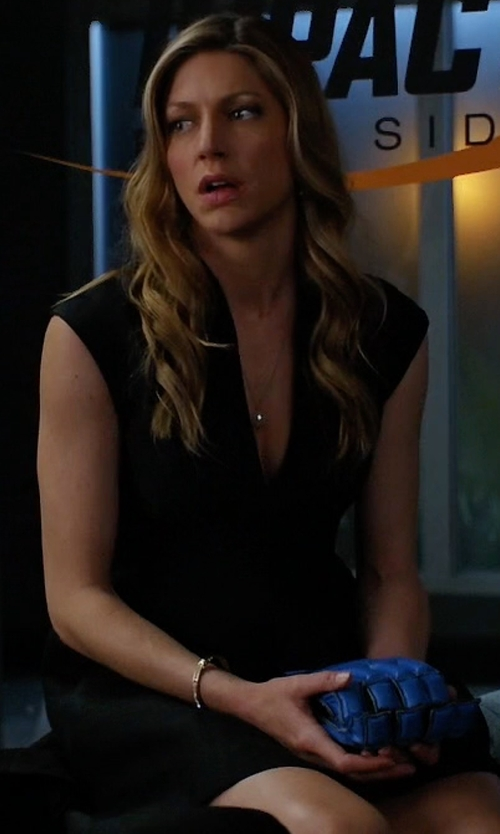 Jes Macallan with Halston Heritage Structured Cap-Sleeve Dress in Mistresses