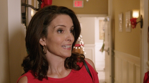 Tina Fey with BCBGMAXAZRIA Geometric Brass Earrings in Sisters
