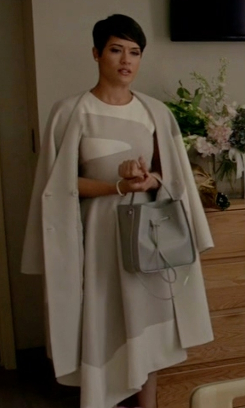 Grace Gealey with Tibi Cape Sleeve Coat in Empire