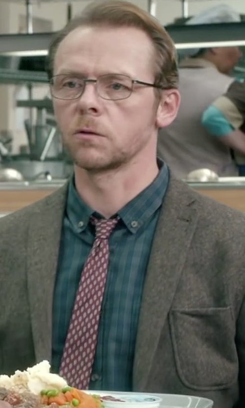 Simon Pegg with J. Crew Tonal Gingham Slim Brushed Twill Shirt in Absolutely Anything
