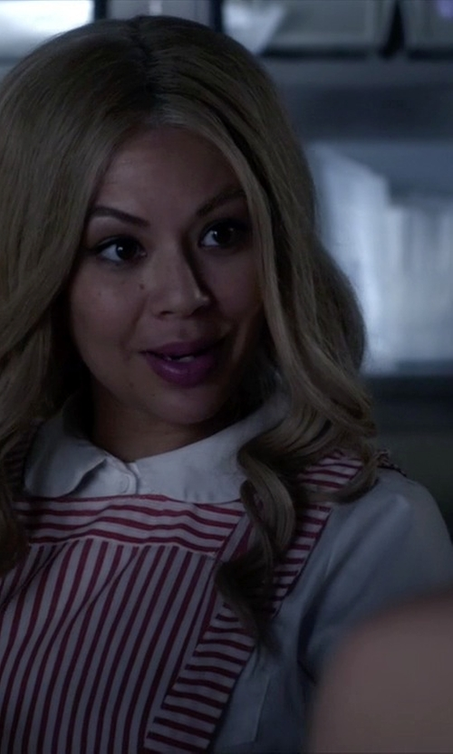 Janel Parrish with Etsy Vintage 60s Red White Candy Stripe Uniform in Pretty Little Liars