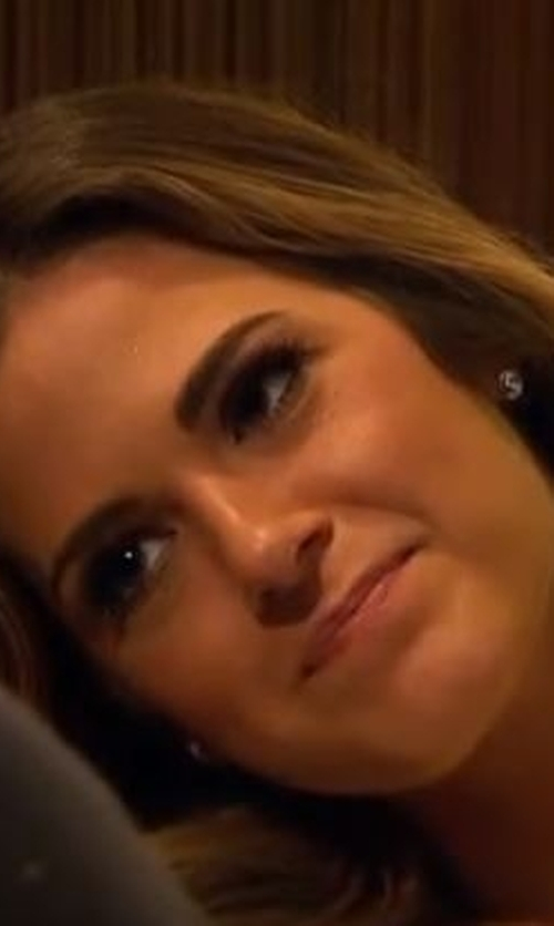 JoJo Fletcher with EF Collection Diamond White Topaz Yellow Gold Stud Earrings in The Bachelorette