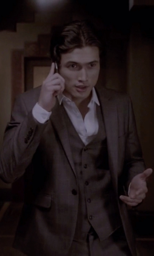 Charles Melton with Canali Three Piece Check Suit in American Horror Story