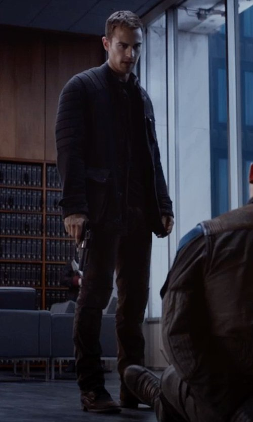 Theo James with Frye Warren Combat Boots in The Divergent Series: Insurgent