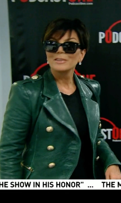 Kris Jenner with Balmain Double-Breasted Leather Jacket in Keeping Up With The Kardashians