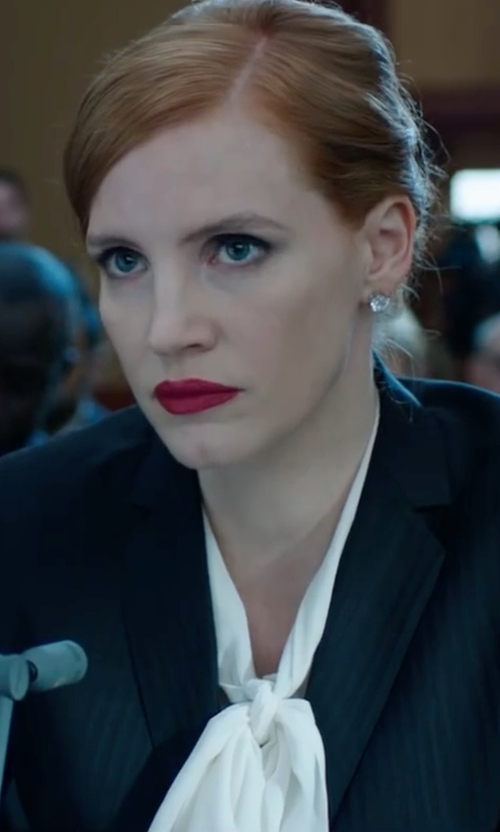 Jessica Chastain with Frame Bow Tie Silk Blouse in Miss Sloane