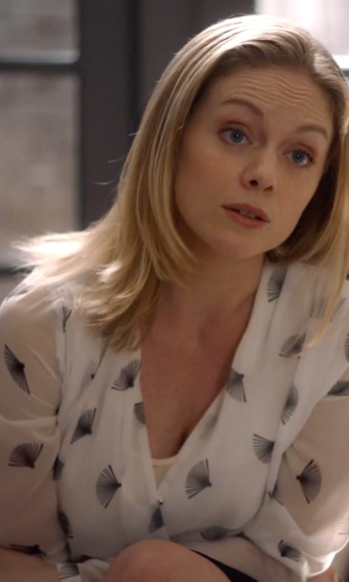 Christina Cole with H&M Draped Blouse in Suits