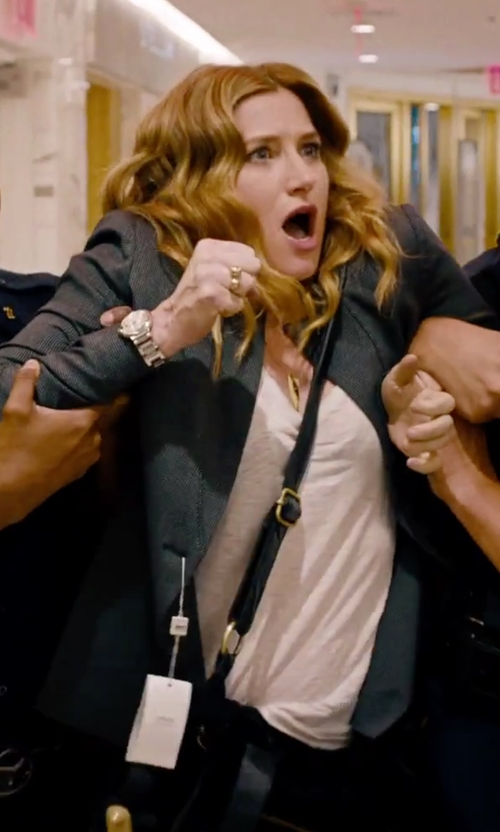 Kathryn Hahn with Lucky Brand Leather Baby Bucket Cross Body Bag in She's Funny That Way